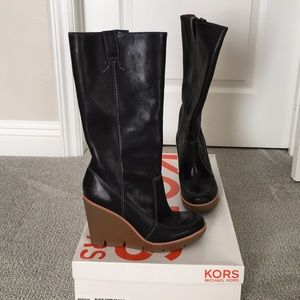 KORS by Michael Kors Dipper Wedge Boots 7.5